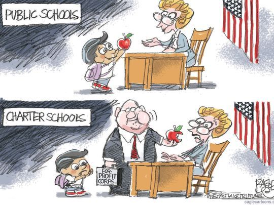 charter and public schools cartoon